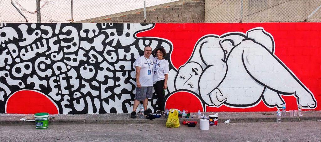 Mural realizado por Ricardo Fernández  junto a Paula Pupo en Los Cerralbos